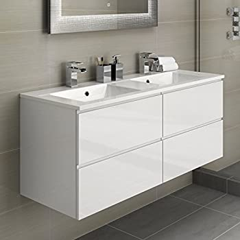 His Hers Double Bathroom Vanity Sink Unit Wall Hung