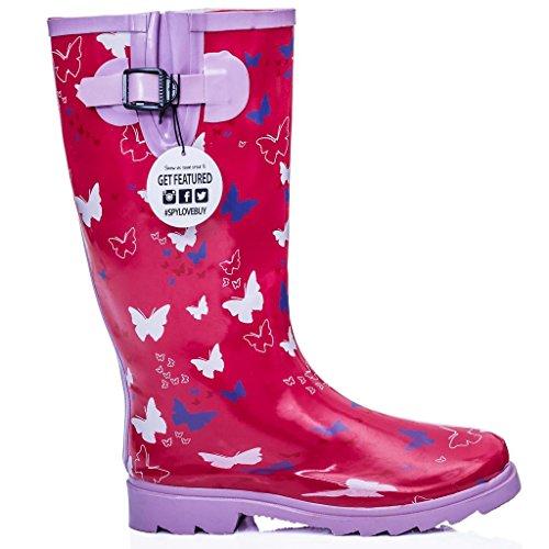 Bottes de pluie plates Pour festival Couleurs assorties Papillon Rose