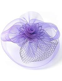 MNII Las Mujeres Fascinator Sombrero de Plumas Gorro Neto Malla Velo Clip y Diadema Kentucky Derby Tea Party Sombrero de la Boda con el Pelo,Purple