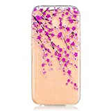 Samsung Galaxy A5 2017 Case [Drop Protection] [Shock Absorption], COZY HUT® Soft TPU Cover Slim Fit Ultra Thin Anti-Scratch Shock Absorption Protective Back Case Cover Shell for Samsung Galaxy A5 2017, Dandelion Tree Butterfly Pattern Design Cover Case for Samsung Galaxy A5 2017 - Plum blossom