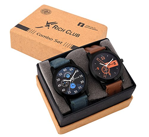 Rich Club Analogue Black Blue Dial Mens|Boys Watch Rel-Denim