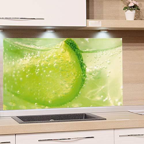 GRAZDesign Spritzschutz Grün Limette - Küchenrückwand Glas als Wand Schutz Herd - Glasbild als Kunstdruck - Edles Glas / 80x60cm