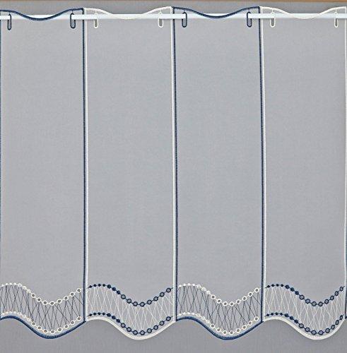 heimtexland  ® Scheibengardine nach Maß Marine-Blau HxB 60 cm x Wunschbreite in 32 cm Schritten Gardine transparent Ökotex Typ448