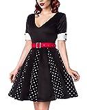 Schwarzes Godet Kleid mit schwarzen gepunkteten Keilen und rotem Gürtel V-Ausschnitt Rockabilly Kurzarm Damen Retro L