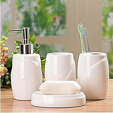 Liyongdong Ceramic Four-Piece Accessoires de salle de bains Emulsion Bottle Porte-brosse à dents Mouthwash Cup Savon Plat(blanc) ,