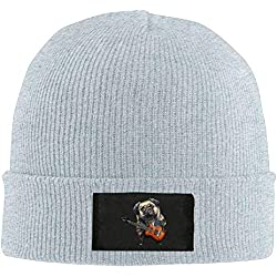 Trsdshorts Unisex Cool DJ Pug Rock Elastic Knitted Beanie Cap Winter Outdoor Warm Skull Hats