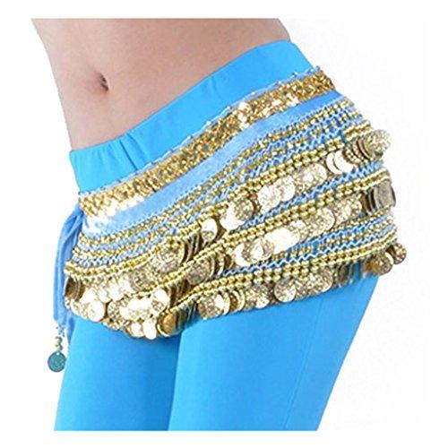 Best Dance, Damen-Bauchtanz-Wickeltuch mit Goldmünzen, mehrere Reihen, für Tanzveranstaltungen und Party Gr. Einheitsgröße, hellblau