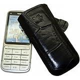 Original Suncase Echt Ledertasche (Lasche mit Rückzugfunktion) für Nokia C3-01 Touch in croco-schwarz