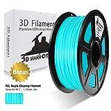 3D Warhorse 3D Filament, ABS 3D Printer Filament 1.75mm, 1KG Spool(2.2lbs),3D Printing Filament Dimensional Accuracy +/- 0.02mm-Bonus with 5M PCL Nozzle Cleaning Filament (Cyan)