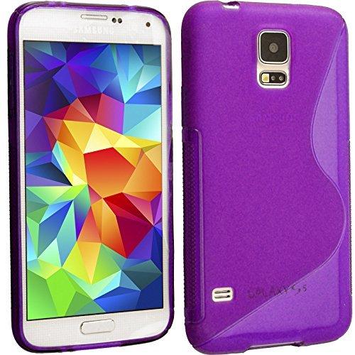 Connection Zone Samsung Galaxy S5 I9600 S Ligne Silicone Gel Étui + Protection Ecran Protection Et Polissage Chiffon