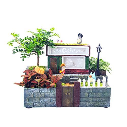 LWKBE Mini Fairy Garden Blumentöpfe mit LED-Leuchten DIY Modern Sukkulenten Blumentopf Gardening Cottage Resin Statuen handgefertigt für den Innenbereich im Freien