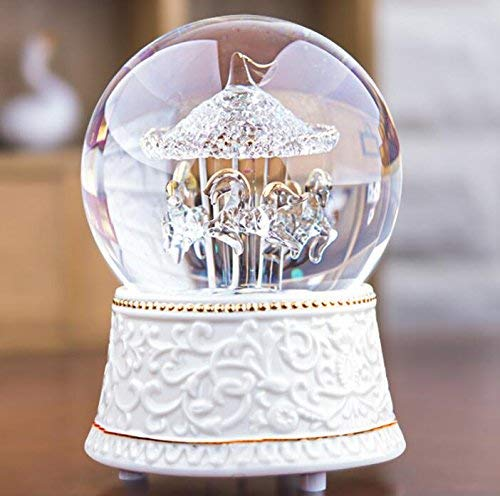Xinsushp Home Interessantes Spielzeug Romantische Kristallkugel Rotierenden Pferd Figur Spieluhr für Geburtstag Weihnachten Kinder Geschenke Spielzeug -