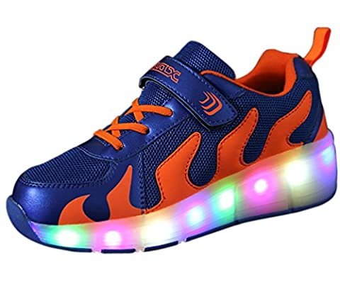 LED Light Up Blink Single Wheel Roller Skate Shoes Sport Flashing Blue Sneakers for Boys Girls Kids