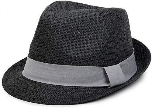 Hut, leichter Papierhut mit kontrastfarbigem Zierband, Unisex 04025002, Farbe:Schwarz / Hellgrau;Größe:S / M = 56 cm (Michael Jackson Fedora Hut Schwarz)