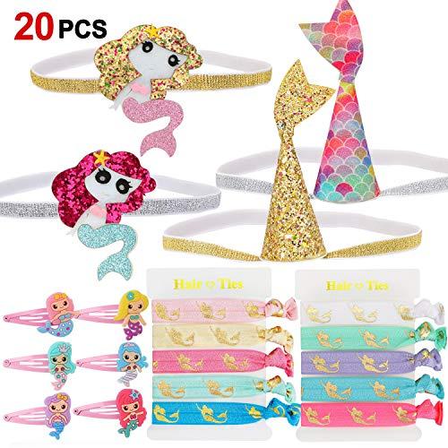 Howaf 20 Stück Meerjungfrau Haarspangen für Mädchen mit Stirnband elastisch Haarband und Haarreife für Kinder Gastgeschenke Mädchen deko Kindergeburtstag Mitgebsel