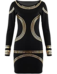 Kurzes Kleid, Damen, mit Goldapplikationen, figurbetont, inspiriert von Kim Kardashian