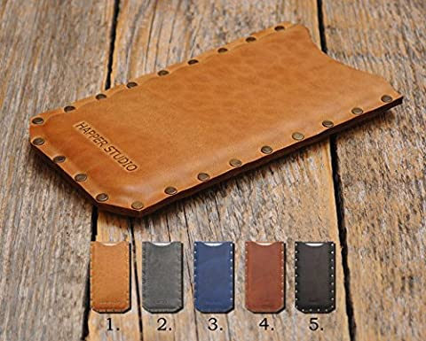 LG Riveted Leather Cover Personalised Case Sleeve Pouch Shell Monogram your Name or Initials, made for g6+ Q6 Q8 v20 v10 X Venture bolt harmony Stylo 3 Plus g5 fortune K20 2017 5 5x 6 stylo k3 k4