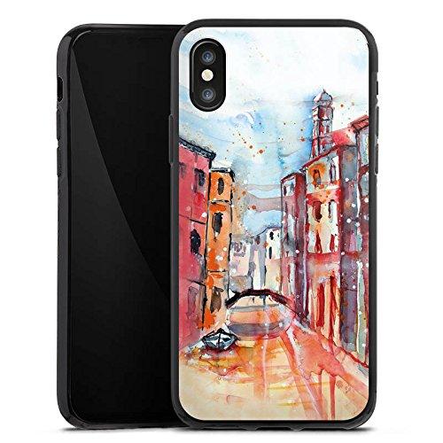 Apple iPhone X Silikon Hülle Case Schutzhülle Venice Venedig Gemälde Silikon Case schwarz