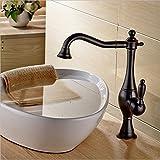 ETERNAL QUALITY Badezimmer Waschbecken Wasserhahn Messing Hahn Waschraum Mischer Mischbatterie Schwarz Antik Farbe zeichnen Tippen Sie Badezimmer mit warmen und kalten Becken ein Küchenspüle Armaturen