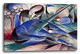 Franz Marc - Träumendes Pferd (1913), 120 x 80 cm (weitere Größen verfügbar), Leinwand auf Keilrahmen gespannt und fertig zum Aufhängen, hochwertiger Kunstdruck aus deutscher Produktion (Alte Meister bis Moderne Kunst). Stil: Abstrakte Malerei, Abstrakte Kunst, Expressionismus