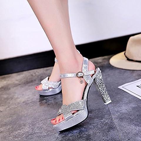 XY&GK Damen Sandalen Sommer Extra High Heel Rohdiamant weiblichen Sandalen Nachtclub Schuhe wasserdicht Plattform Fisch Mund Schuhe Schuhe 38 Silberne