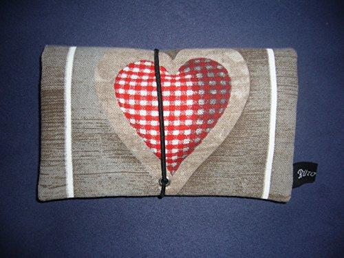 Büroteuse Tabaktasche / Drehertasche im rotem Herzer´l-Design, jede Tasche ein Unikat! Rot
