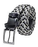 GreSel Cintura Intrecciata, Uomo Donna, in Tessuto Elastico Con Inserti in Vera Pelle, Made in Italy (115 (50-52), Grigio Mix)