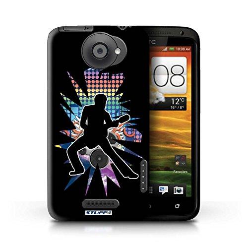 Kobalt® Imprimé Etui / Coque pour HTC One X / Rock n Roll Noir conception / Série Rock Star Pose étendre Noir