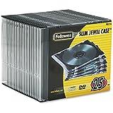Fellowes 98316 - Funda para disco óptico (plástico, 25 unidades), color negro y transparente