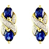 Ivy Gems 9ct Yellow Gold Light Sapphire and Diamond Cross Over Earrings