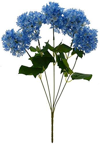 Fourwalls Artificial Fabric Hydrangea Flower Bouquet (45 cm, Blue)