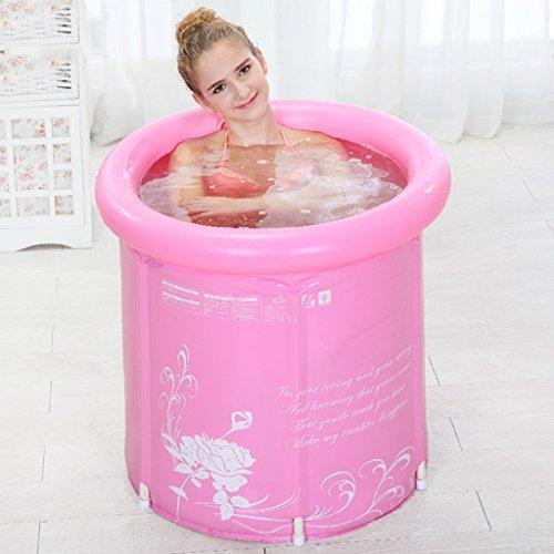 Falteimer runde Badewanne Badewanne Badewanne für Erwachsene aufblasbare Plastikwanne Kinder-Haushaltswanne pink-blauer Plastikeimer höhenverstellbare Badewanne ( Color : Pink , Size : L )