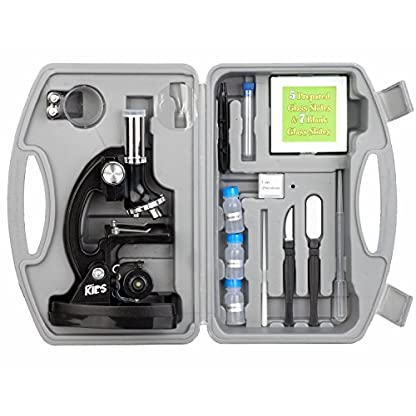 AmScope M30-ABS-KT1 Beginner Microscope Kit, LED and Mirror Illumination, 300X, 600x, and 1200x Magnification, Includes 48-Piece Accessory Set And Case, Black