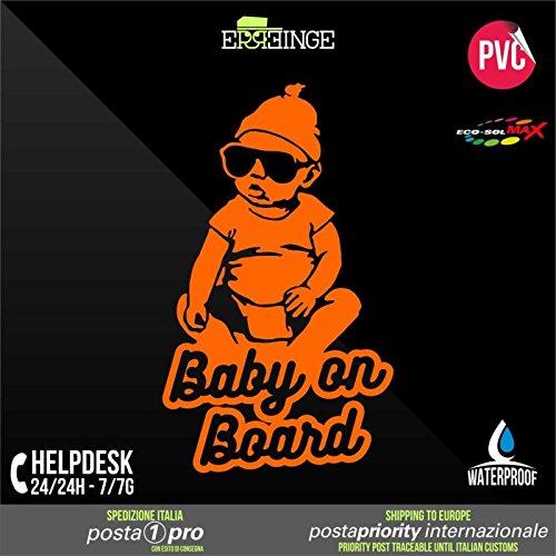 [ERREINGE] STICKER PRE-SPACED ORANGE FLUO 22cm - Baby on Board Bébé à Bord - Autocollant Decal Transfer Vinyle Muraux Laptop Voiture Moto Casque Scooter Camper