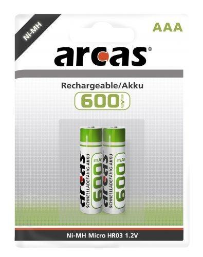 Arcas 2 x Ni-MH Akku Batterie Micro AAA 600 mAh 1,2V