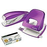 Leitz 5008 NeXXt Series Bürolocher, Metall, bis zu 30 Blatt (Set │ violett)