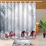 GWELL tenda da doccia decorazioni di Natale sciarpa stampa digitale Anti Muffa, 180X 180/180x 210cm/soffice per bagno, per bagno, Muster-1(Duschvorhang nur), 180*210cm