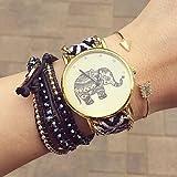Relojes Hermosos, Reloj de la amistad elefante, elefante reloj, relojes de las mujeres, reloj de cuero, reloj hecho a mano, reloj de la vendimia ( Color : Celeste , Talla : Para Mujer-Una Talla )
