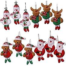 Shanke 12pcs Adornos decoración Colgante muñecos Santa muñeco de Nieve para árbol de Navidad decoración de