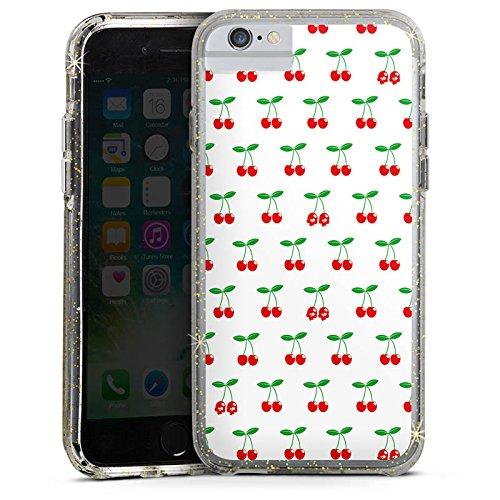 Apple iPhone X Bumper Hülle Bumper Case Glitzer Hülle Kirschen Rockabilly Fruits Bumper Case Glitzer gold