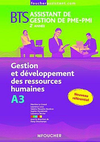 BTS Assistant de gestion de PME-PMI 2ème année : Gestion et développement des ressources humaines, A3