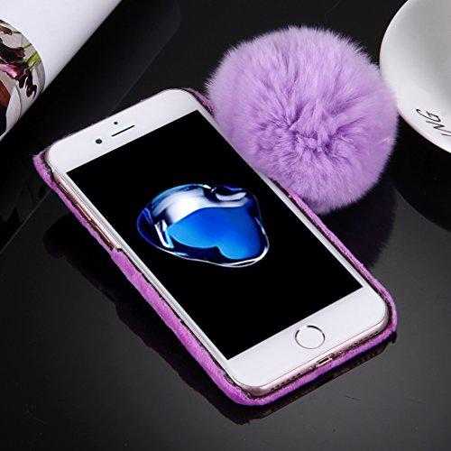 YAN Für iPhone 7 Plus Plüsch Tuch Abdeckung PC Schutzhülle mit Pelz Ball Kette Anhänger ( Color : White ) Purple