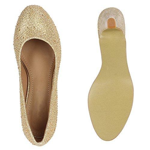 Stiefelparadies Klassische Damen Pumps Glitzer Party Schuhe Absatzschuhe Karneval Fasching Kostüm Prinzessin Fee Krankenschwester Flandell Gold