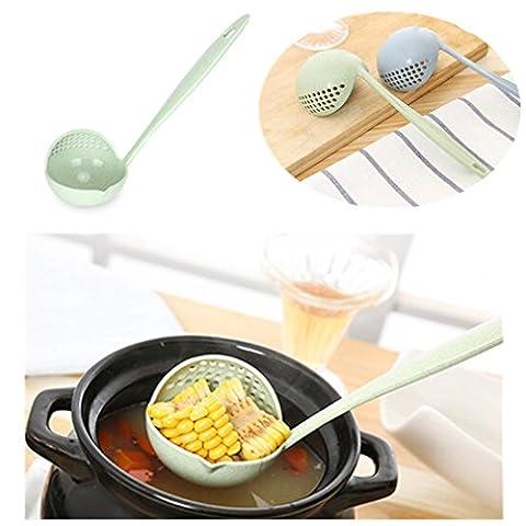 HENGOSNG Vert Beige Cuillère Colander Combo Séparateur Alimentaire Écumoires Filtre Cuillère Cuisine Spoon Colander