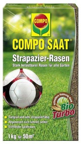 COMPO SAAT® Strapazier-Rasen, hochwertige Rasensamen-Mischung, für Rasen der wenig anfällig für Rasenkrankheiten ist, 175 g für 8,5 m2