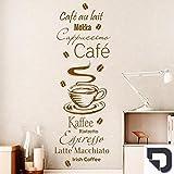 DESIGNSCAPE® Wandtattoo Kaffee Spezialitäten mit Kaffeebohnen: Café au lait, Mokka, Cappuccino, Ristretto, Espresso, Latte Macchiato, Irish Coffee 42 x 120 cm (Breite x Höhe) dunkelgrau DW803398-M-F7