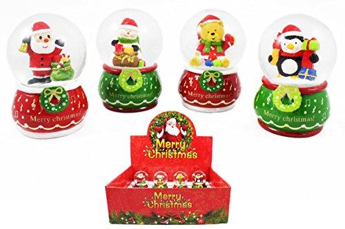 Schneekugeln im Display Merry Christmas, ca. 7 cm, 4fach sortiert, 12 Stück (0982920) (Schneekugel-display Weihnachten)