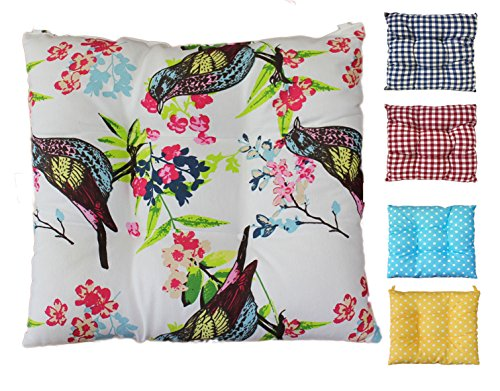 Tropik home Comfortable Seat Pads, Garden Kitchen Dining Chair Cushions Many Designs Tie On (Birds)