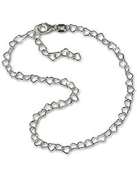 SilberDream Fußkette aus 925er Sterling Silber - Herzchen 25cm - Fußkettchen SDF0275J