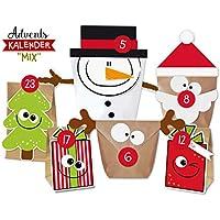 KuschelICH DIY Adventskalender Set Mix zum Befüllen   Weihnachtskalender selber Machen ohne Schere   alle Teile gestanzt   wiederverwendbar